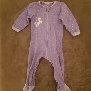 Girls Purple Unicorn Zip Up Footie Onesie